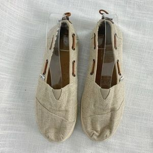 Toms Tan Cream Canvas Slip On Shoes Youth 5.5